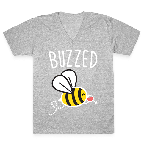 Buzzed Wine Bee V-Neck Tee Shirt