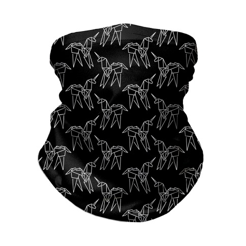 Origami Unicorn Pattern Black and White Neck Gaiter