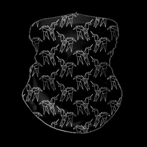 Origami Unicorn Pattern Black and White Neck Gaiter