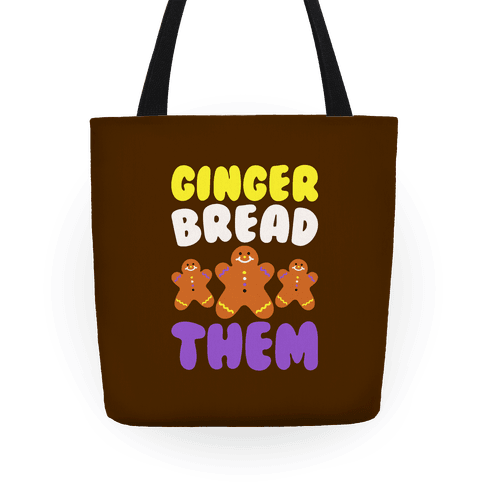 Ginger Bread Them White Print Tote