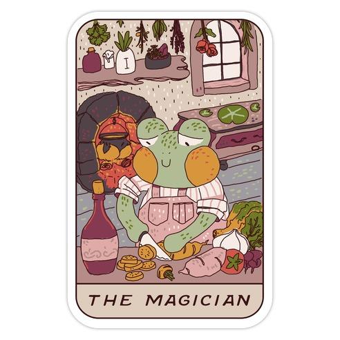 Cottagecore Magician Tarot Card Die Cut Sticker