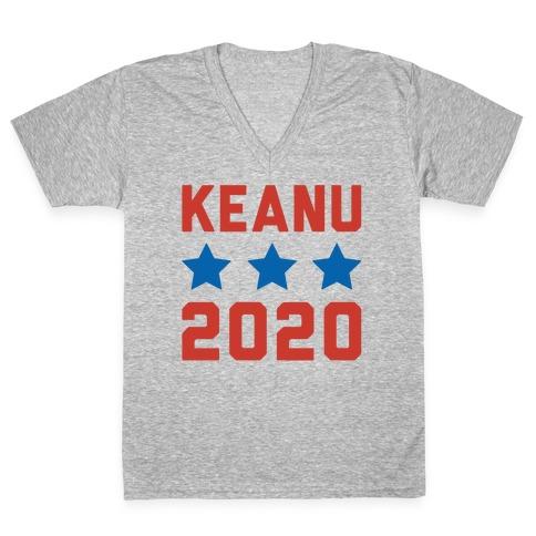 Keanu 2020 White Print V-Neck Tee Shirt