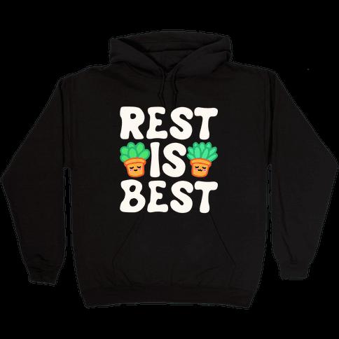 Rest Is Best White Print Hooded Sweatshirt
