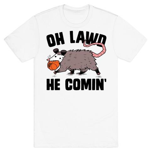 Oh Lawd He Comin' Pumpkin Possum T-Shirt