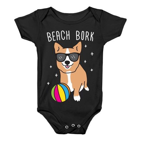 Beach Bork Corgi Baby Onesy