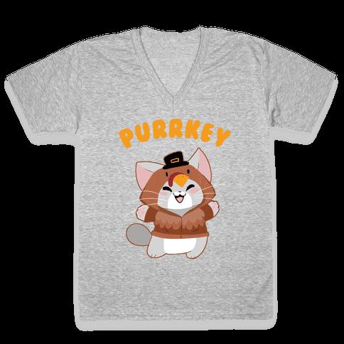 Purrkey V-Neck Tee Shirt