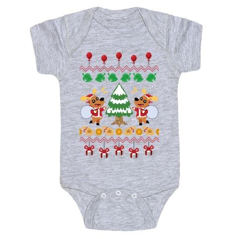 Jingle Animal Crossing Ugly Sweater Baby Onesy