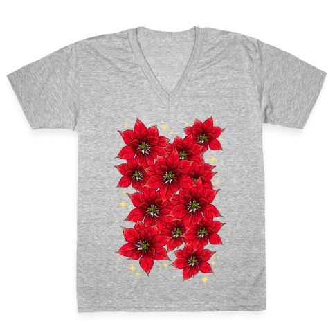 Poinsettia Bouquet V-Neck Tee Shirt