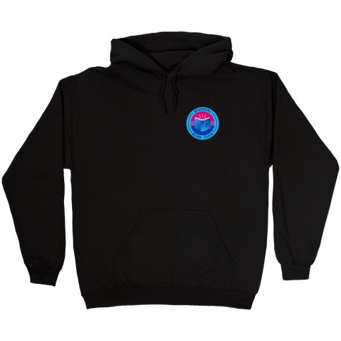 Bisexual Book Club Patch Version 2 White Print Hooded Sweatshirt
