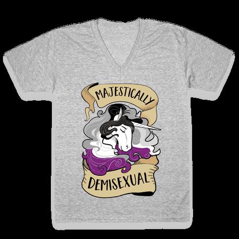 Majestically Demisexual V-Neck Tee Shirt