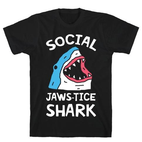 Social Jaws-tice Shark Mens/Unisex T-Shirt