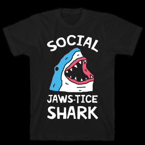Social Jaws-tice Shark Mens T-Shirt