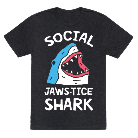 Social Jaws-tice Shark Mens T-Shirt