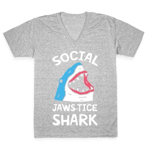 Social Jaws-tice Shark V-Neck Tee Shirt