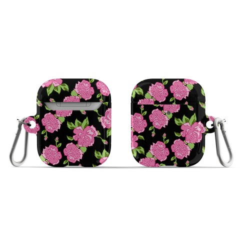 Black and Pink Floral Pattern AirPod Case