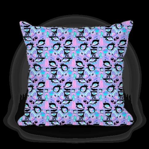 Pastel Goth Eyes Pattern Pillow