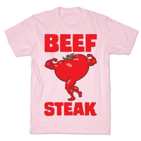 Beefsteak Tomato Parody White Print T-Shirt