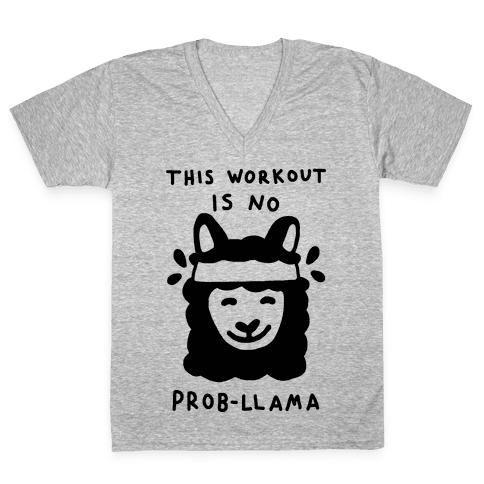 This Workout Is No Prob-Llama V-Neck Tee Shirt