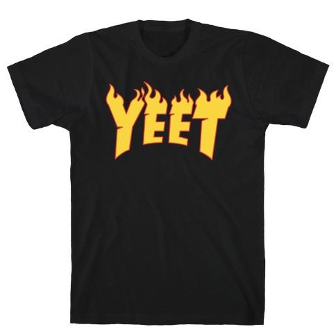 Yeet Thrasher Logo Parody White Print T-Shirt