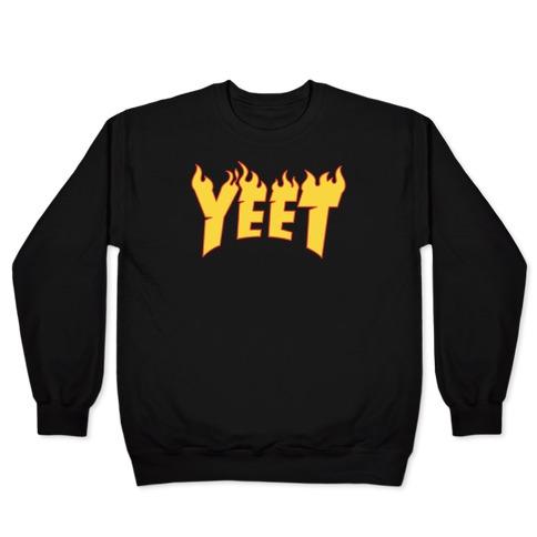 Yeet Thrasher Logo Parody White Print Pullover