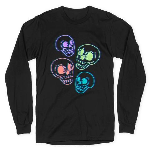 Pastel Skulls Glitch Long Sleeve T-Shirt