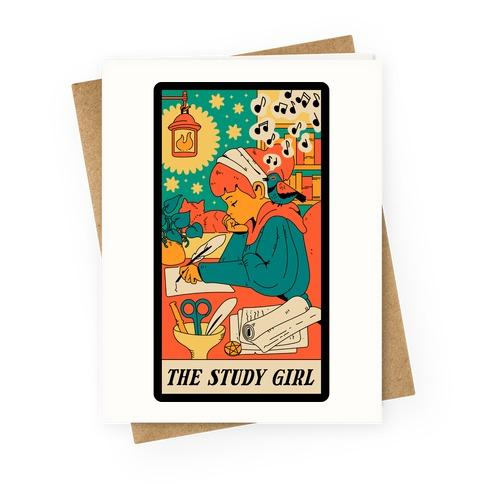 The Study Girl Tarot Card Greeting Card