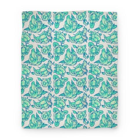 Floral Penis Pattern Teal Blanket