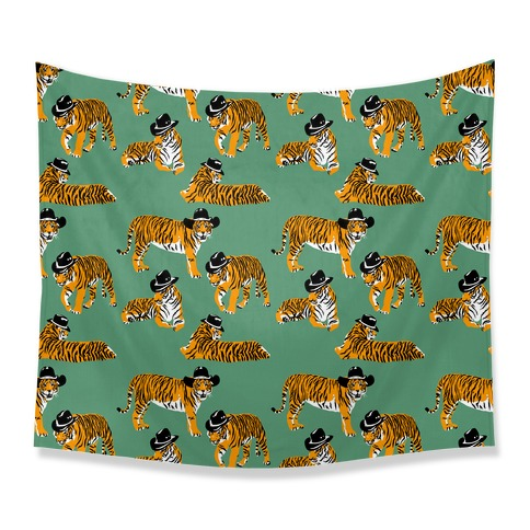 Tigers in Cowboy Hat Pattern Tapestry
