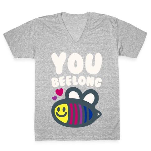 You Belong Bisexual Pride White Print V-Neck Tee Shirt