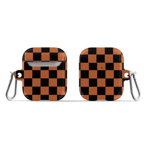 Checkered Black and Rust Orange AirPod Case