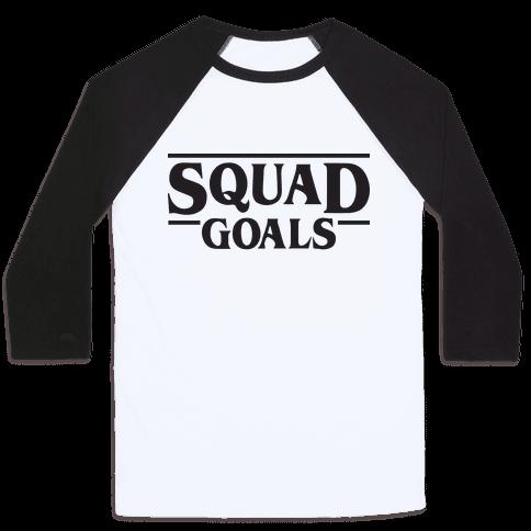Stranger Squad Goals Parody (Black) Baseball Tee