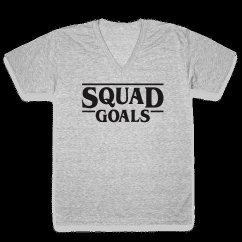 Stranger Squad Goals Parody (Black) V-Neck Tee Shirt