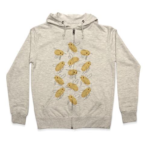 Bee Fly Pattern Zip Hoodie