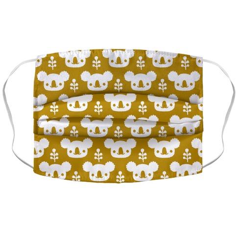 Koala and Eucalyptus Boho Pattern Mustard Yellow Accordion Face Mask