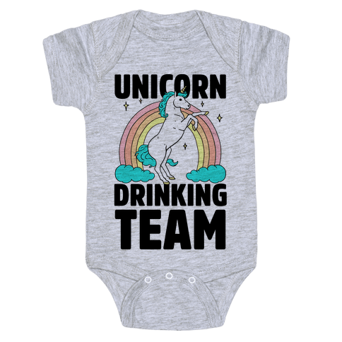 Unicorn Drinking Team Baby Onesy