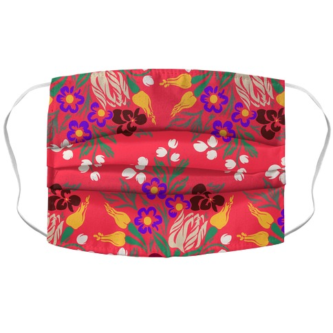 Bright Summer Floral Bouquet Accordion Face Mask