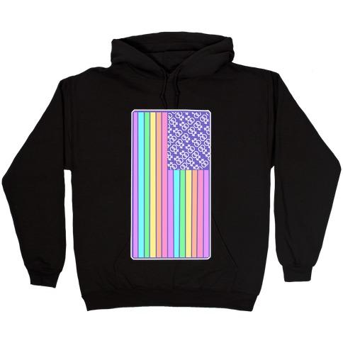 Pastel Gay Pride American Flag Hooded Sweatshirt