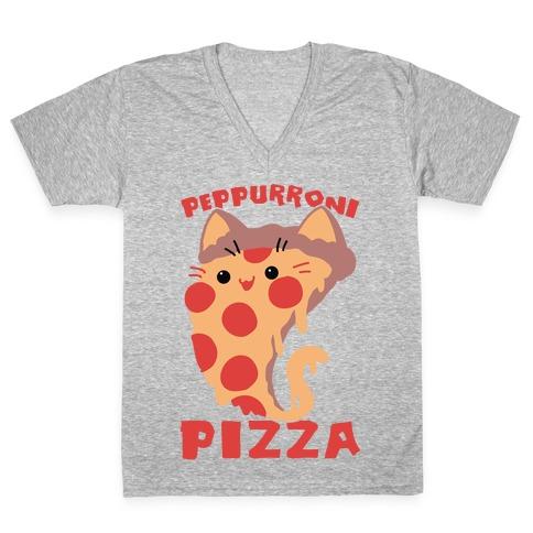 PepPURRoni Pizza V-Neck Tee Shirt