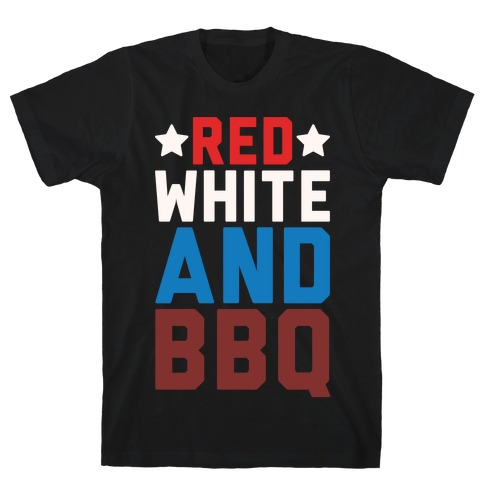 Red White And BBQ White Print T-Shirt