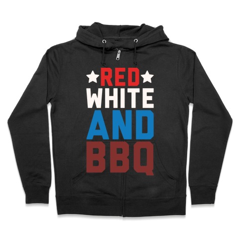 Red White And BBQ White Print Zip Hoodie