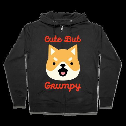 Cute but Grumpy Shiba Inu Zip Hoodie