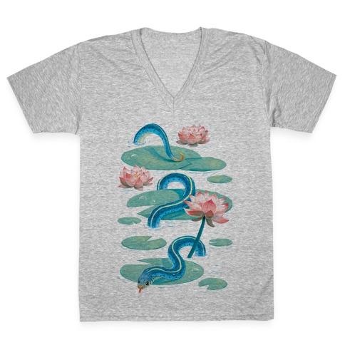 Garter Among Lily Pads V-Neck Tee Shirt