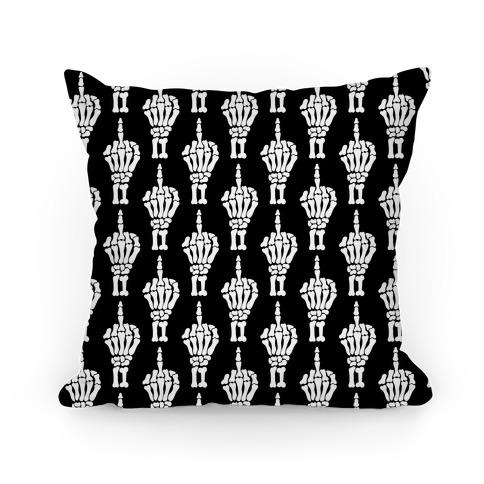 Skeleton Middle Finger Pattern Pillow