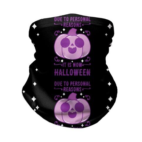 Due To Personal Reasons It Is Now Halloween Pumpkin (Purple) Neck Gaiter