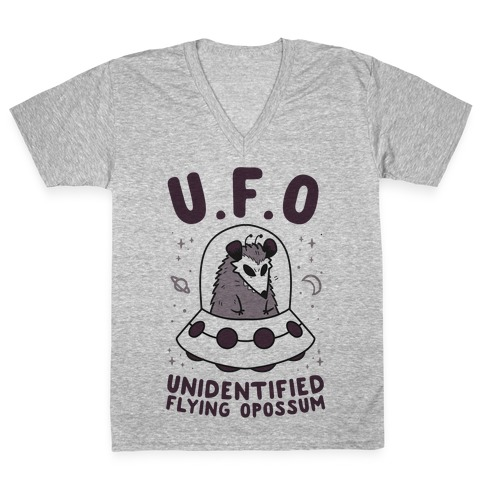 Unidentified Flying Opossum V-Neck Tee Shirt