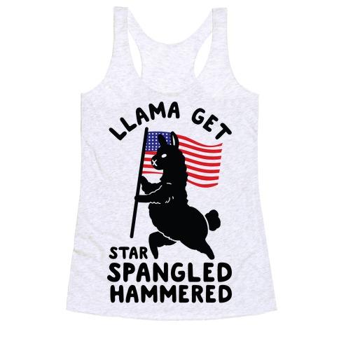 Llama Get Star Spangled Hammered Racerback Tank Top