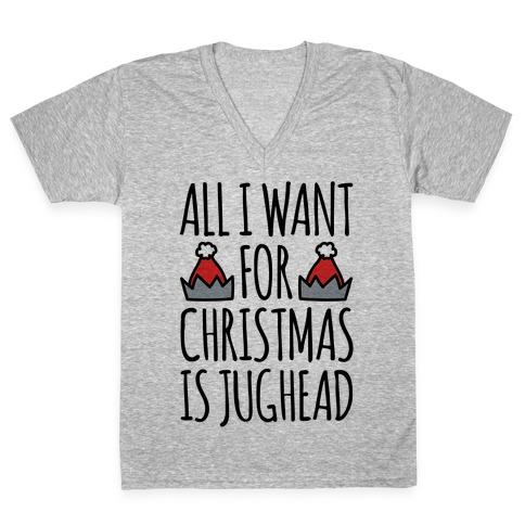 All I Want For Christmas Is Jughead Parody V-Neck Tee Shirt