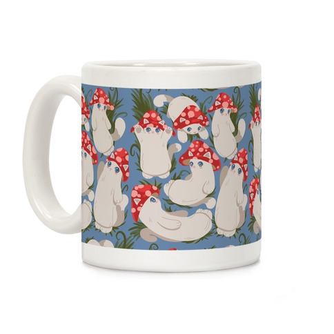 Mushroom Cats Pattern Coffee Mug