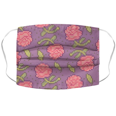 Pixel Roses Face Mask Cover