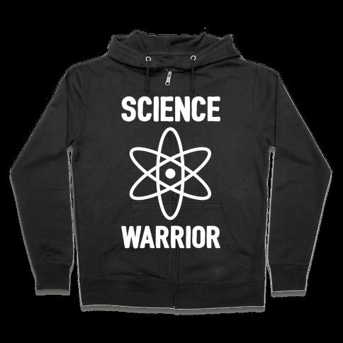 Science Warrior White Print Zip Hoodie